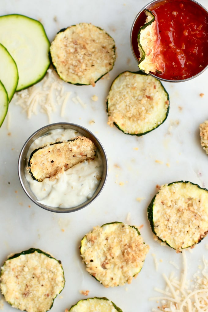 Vegan Oven Baked Parmesan Zucchini Chips - gluten free