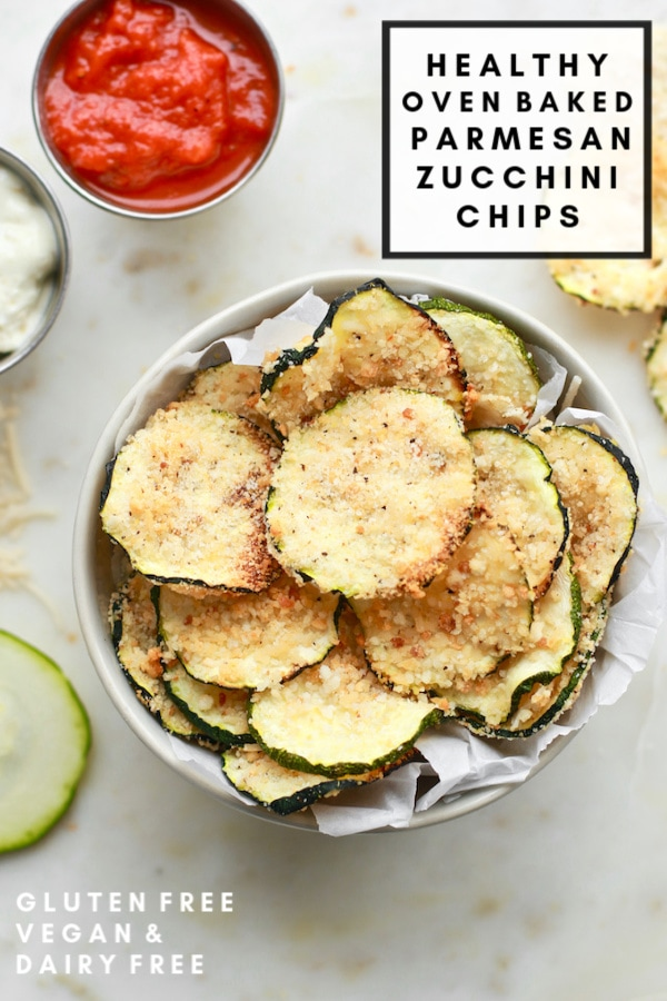 This healthy oven baked parmesan zucchini chip recipe is to die for! It's crispy, salty, and perfect for any chip craving. The dairy-free parmesan and gluten-free breading work wonderfully keeping these chips vegan and healthier than your regular run-of-the-mill fried chip! Perfect for those with food allergies too!