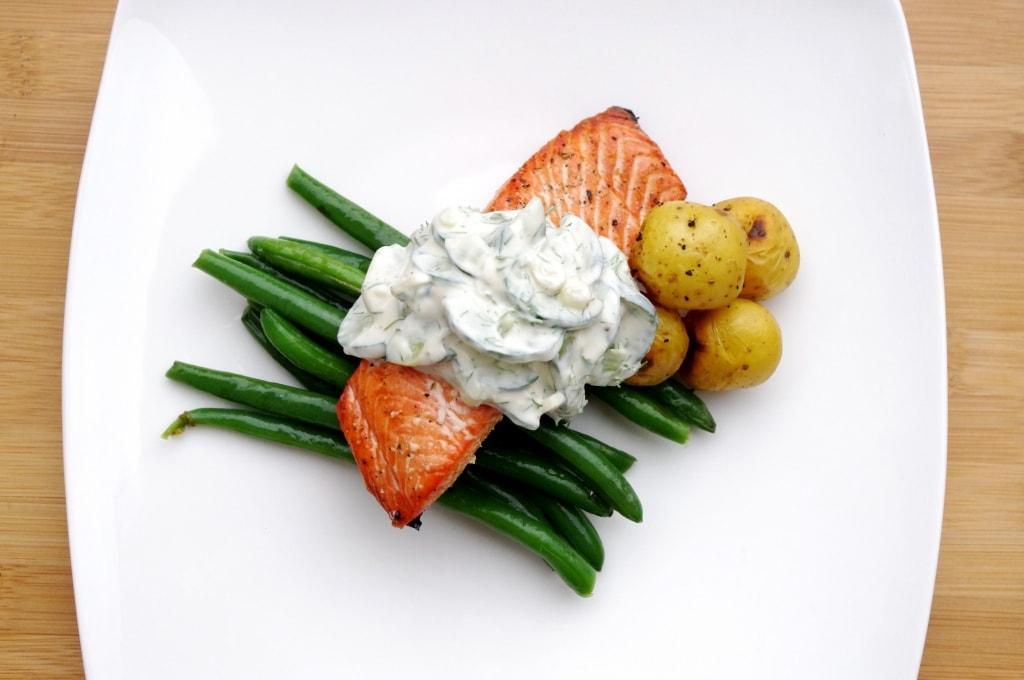 Creamy Cucumber Dill Salad on Salmon
