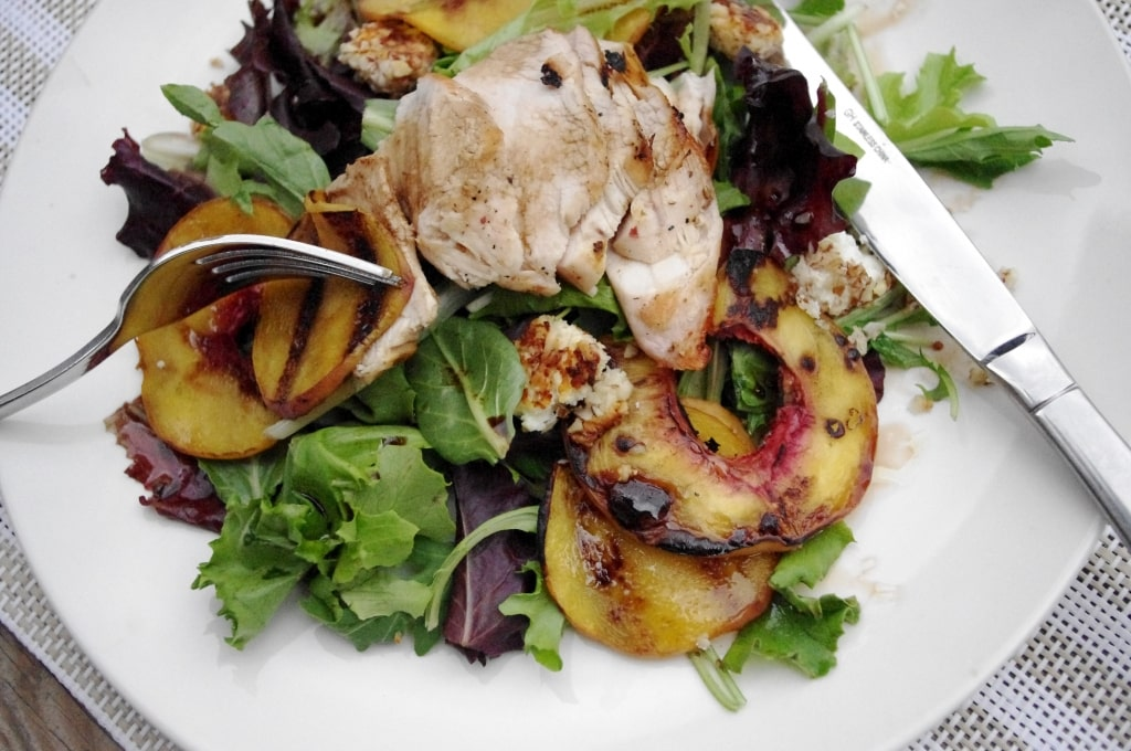 Grilled Peach & Goat Cheese Salad