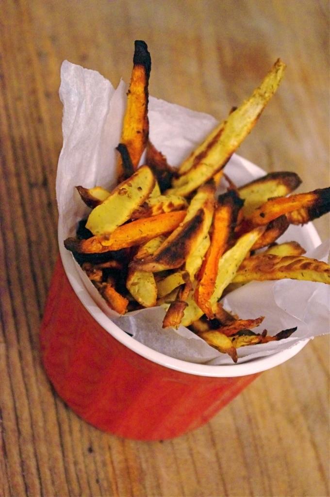 Baked Carrot & Sweet Potato Fries