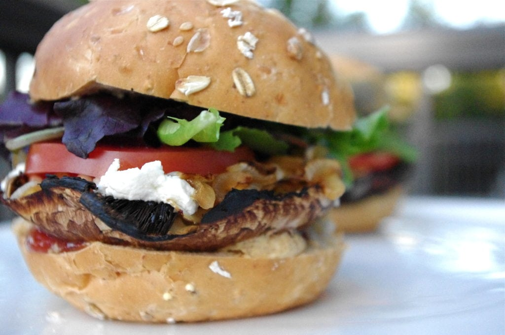 Portobello Mushroom & Caramelized Onion Burger