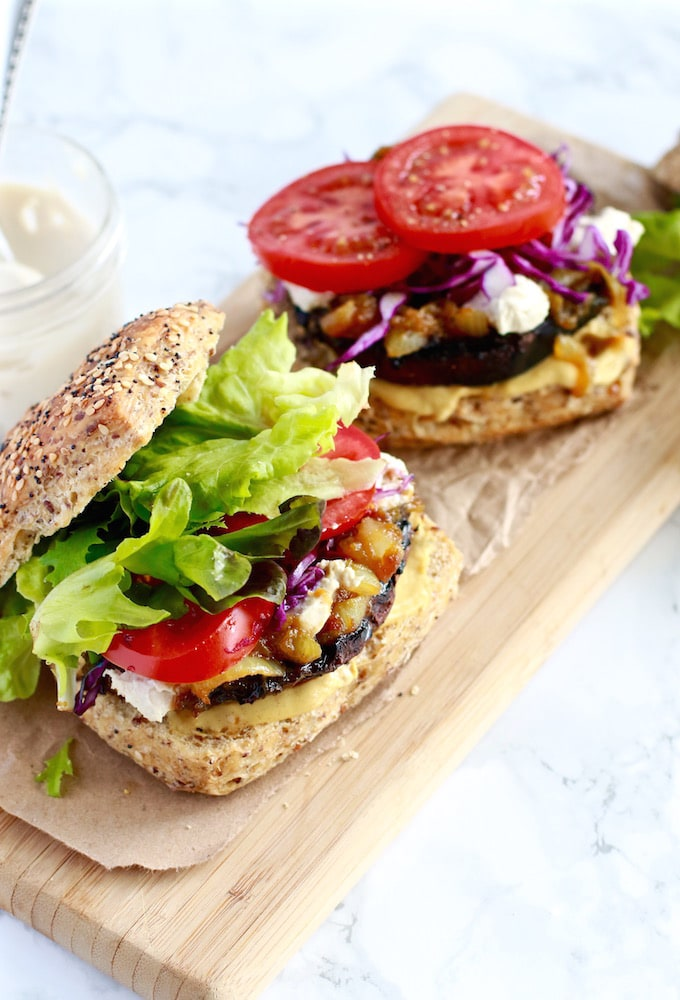 Portobello mushroom burger with caramelized onions and dairy-free cheese on a gluten-free bun | Nutrition in the Kitch-2