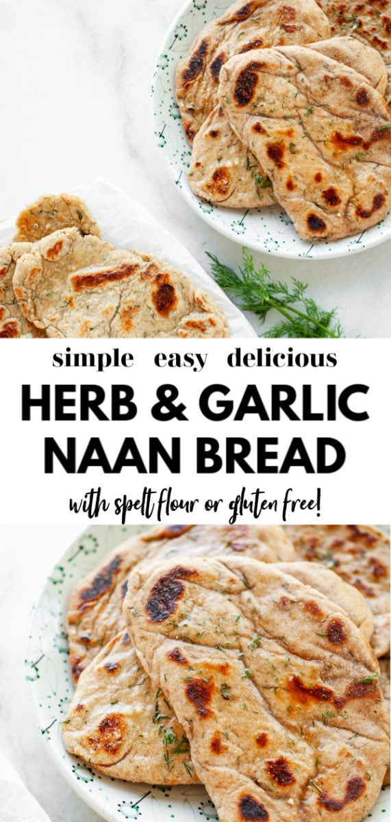 One of the best easy and simple recipes for herb and garlic flatbread (or naan) you'll ever try that's homemade! Made with spelt flour (or amaranth for a gluten free version), fresh herbs, garlic, and yogurt, it can b easily made vegan, and is perfect for making pizza, sandwiches, or dipping into a warm stew, chili, or butter chicken!