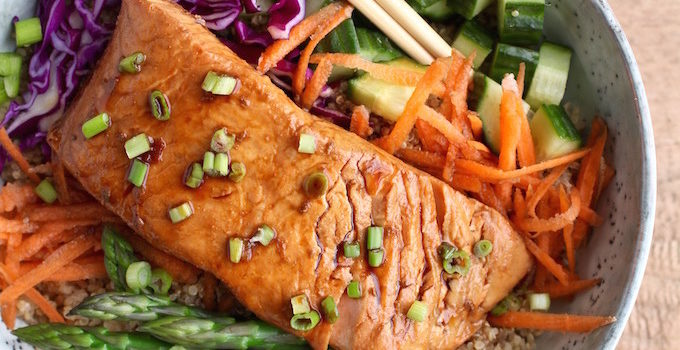 Ginger Soy Poached Salmon Bowl