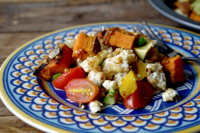 Sweet Potato & Avocado Egg Scramble.. a delicious gluten free dish you can enjoy at ANY meal of the day!