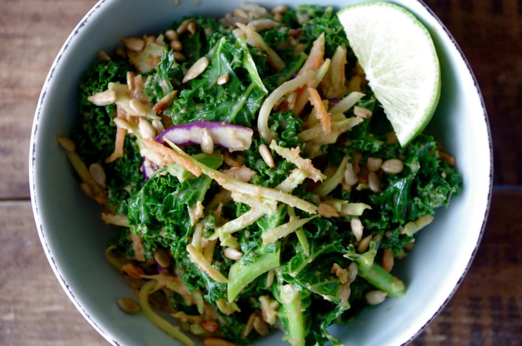 Easy Kale & Broccoli Slaw Rice Bowl with a Spicy Thai Peanut Sauce ...