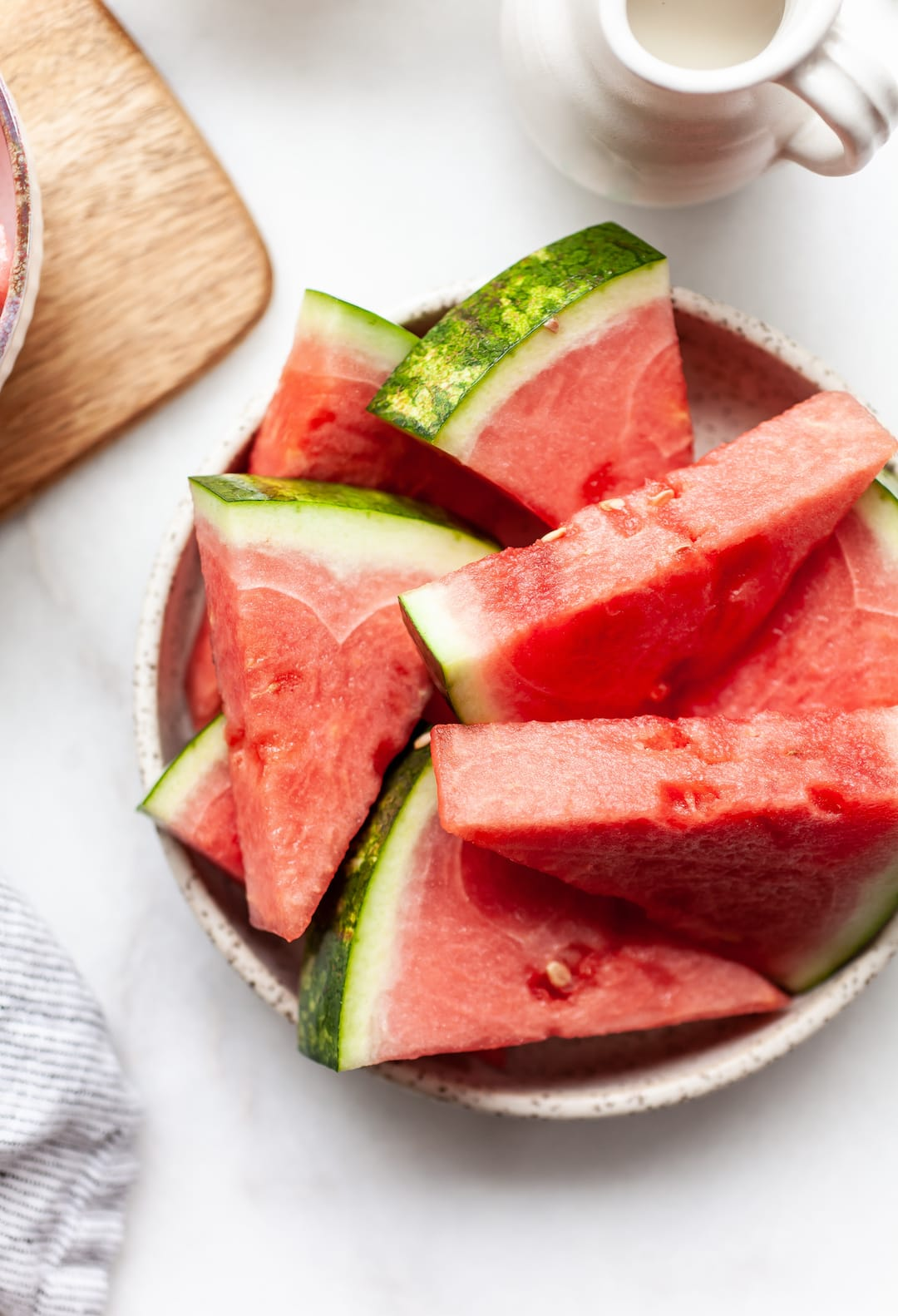 sliced watermelon triangles on a plate
