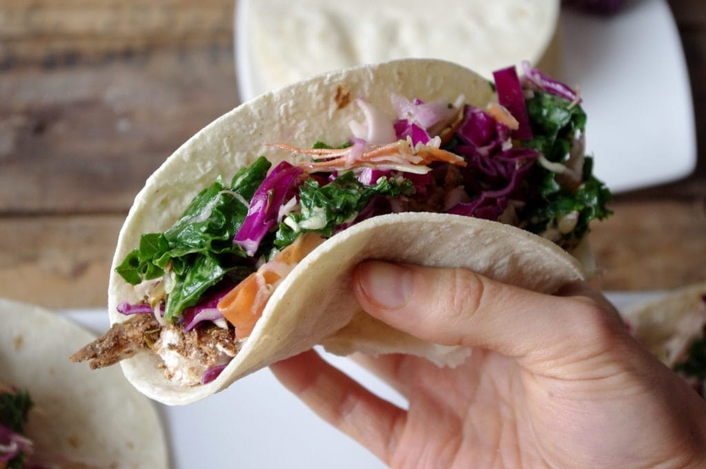 Jerk Chicken & Simple Vinaigrette Slaw Tacos (GF!)