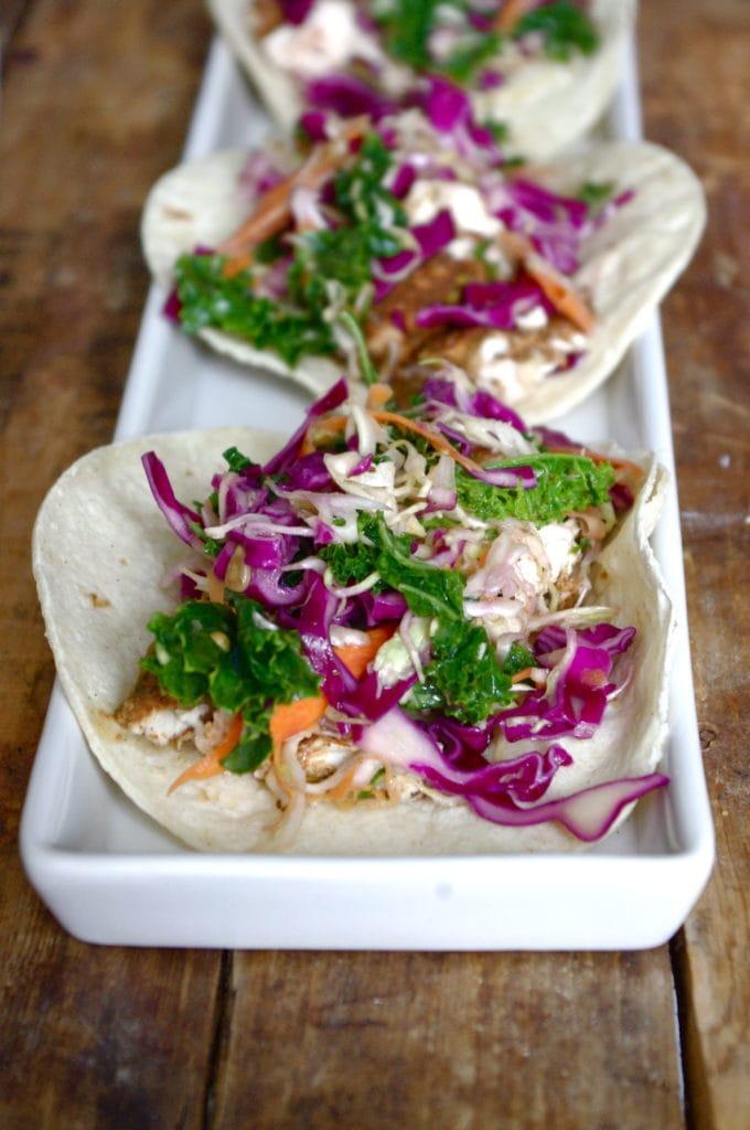 Jerk Chicken & Simple Vinaigrette Slaw Tacos (GF)
