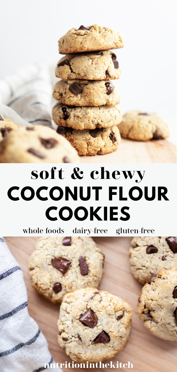 Soft & Chewy Coconut Flour Chocolate Chip Cookies Collage