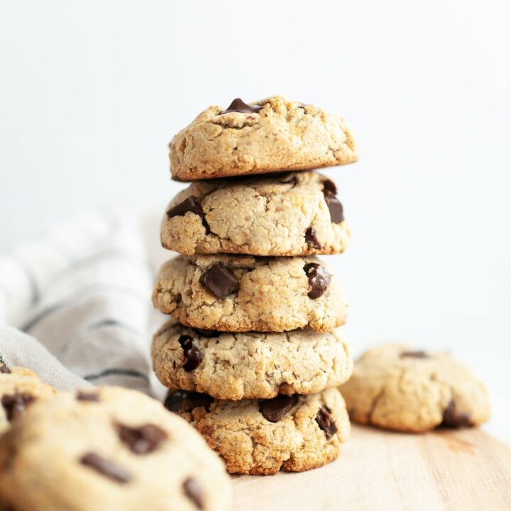 Stack of Soft & Chewy Coconut Flour Chocolate Chip Cookies