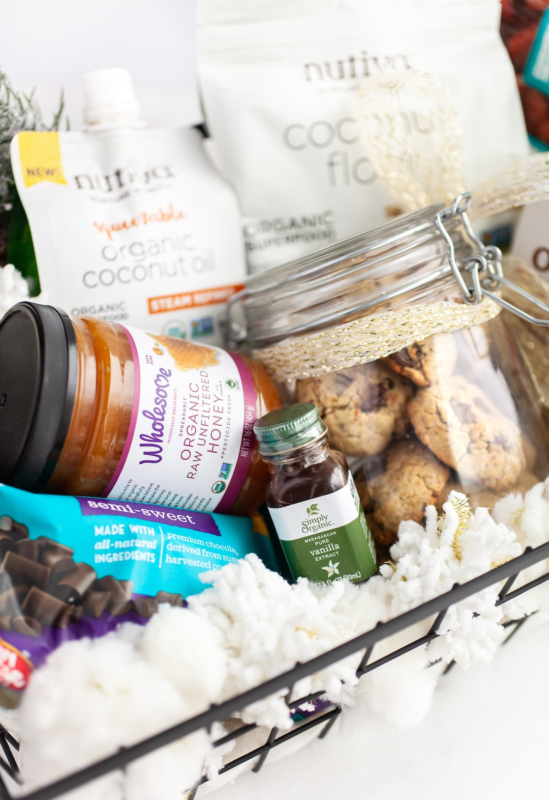 Holiday Baking Gift Basket for Soft & Chewy Coconut Flour Chocolate Chip Cookies