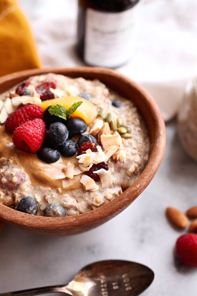 Fruit-Filled Protein-Packed Overnight Quinoa & Oats via Nutritionist in the Kitch // Gluten Free & Vegan