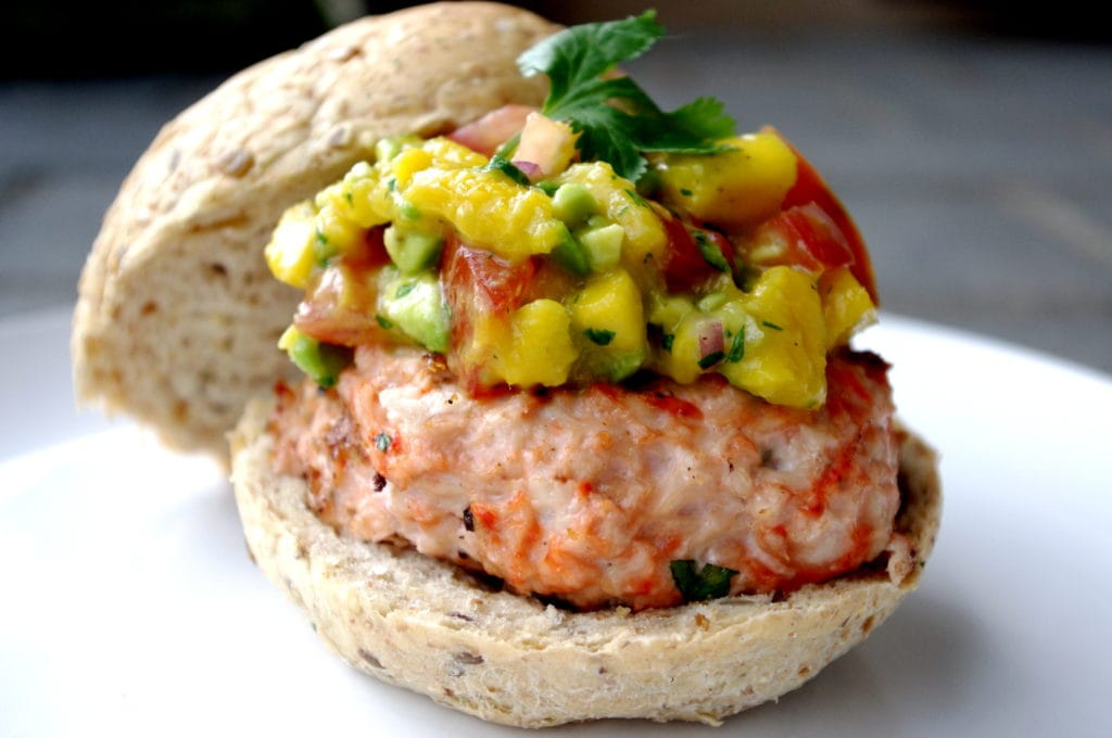 GF Tandoori Chicken Burgers with Mango Avocado Salsa (a super easy dinner!)