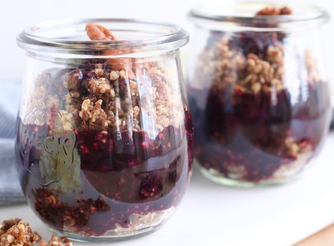 No-Bake Layered Pecan Blueberry Cobbler