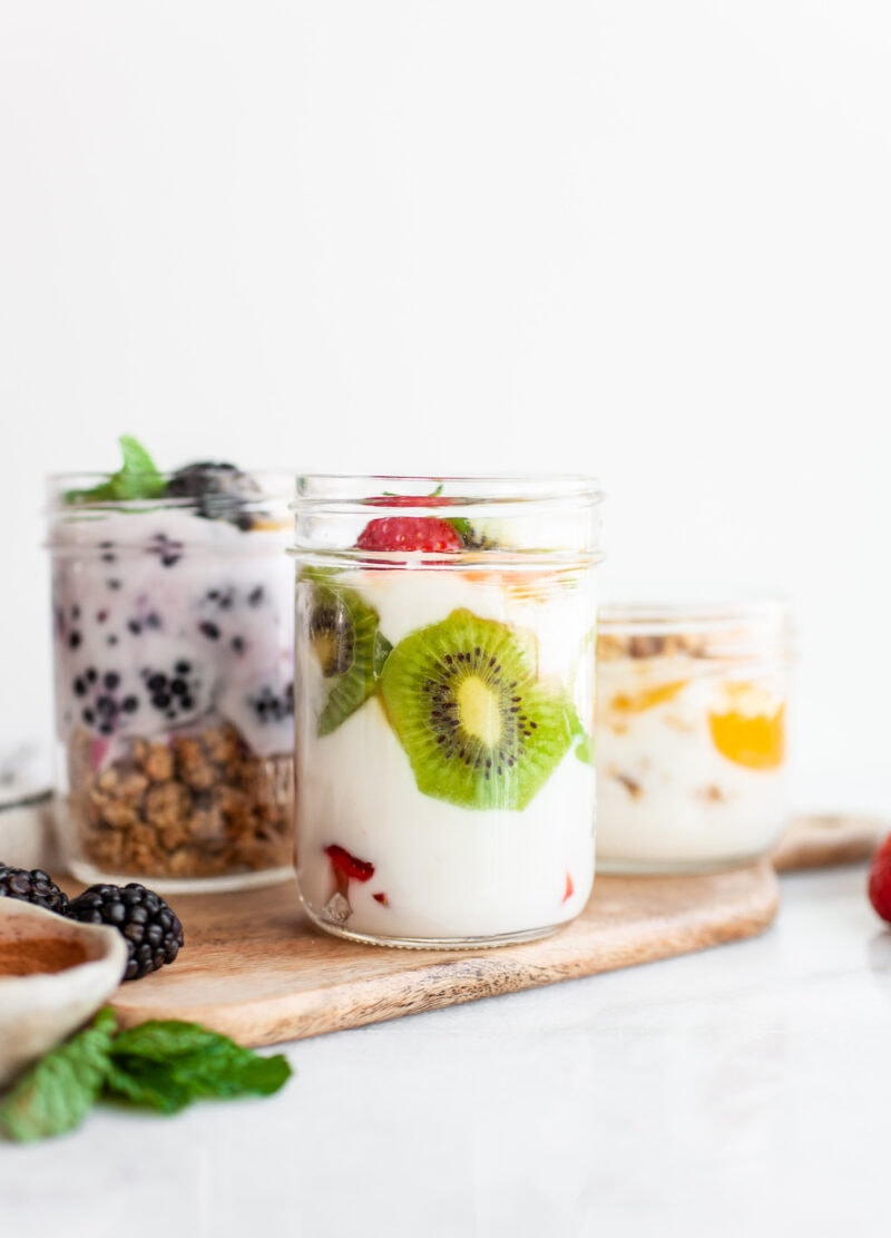 kiwi strawberry yogurt in a jar - How To Make Plain Yogurt Taste Good!