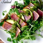 Chili Crusted Ahi Tuna & Avocado Salad with Cilantro Garlic Dressing (GF!) … and Fave Five Friday: Healthy Tuna Recipes!
