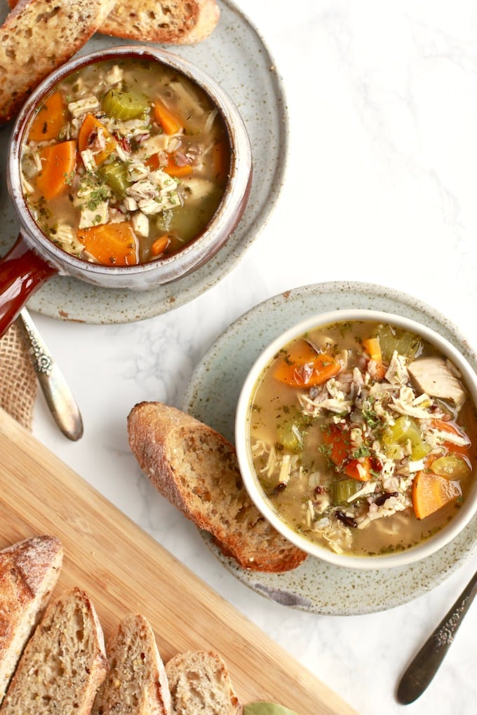Easy Chicken and Wild Rice Soup / Gluten Free, Dairy Free, Stovetop, Healthy