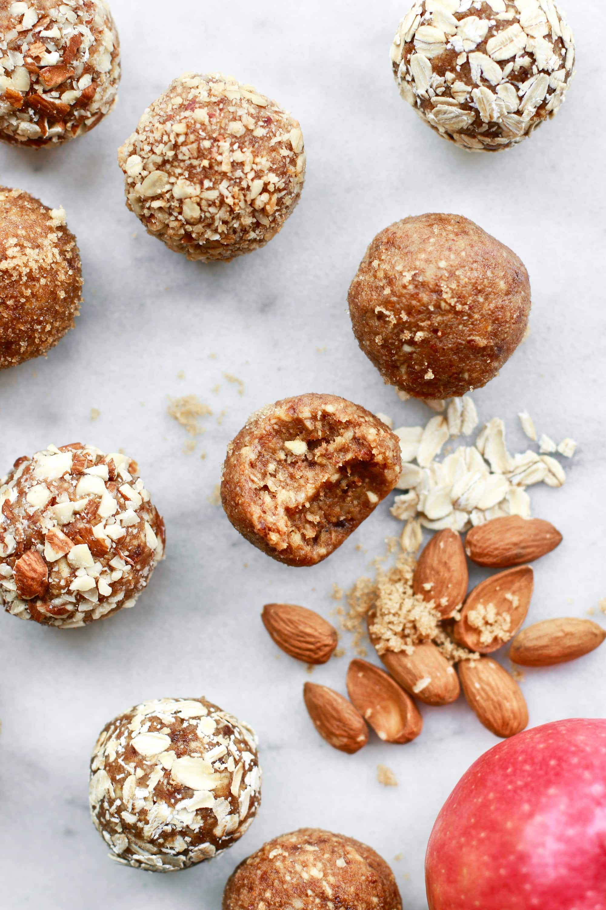 Super Quick No Bake Apple Almond Butter Energy Bites