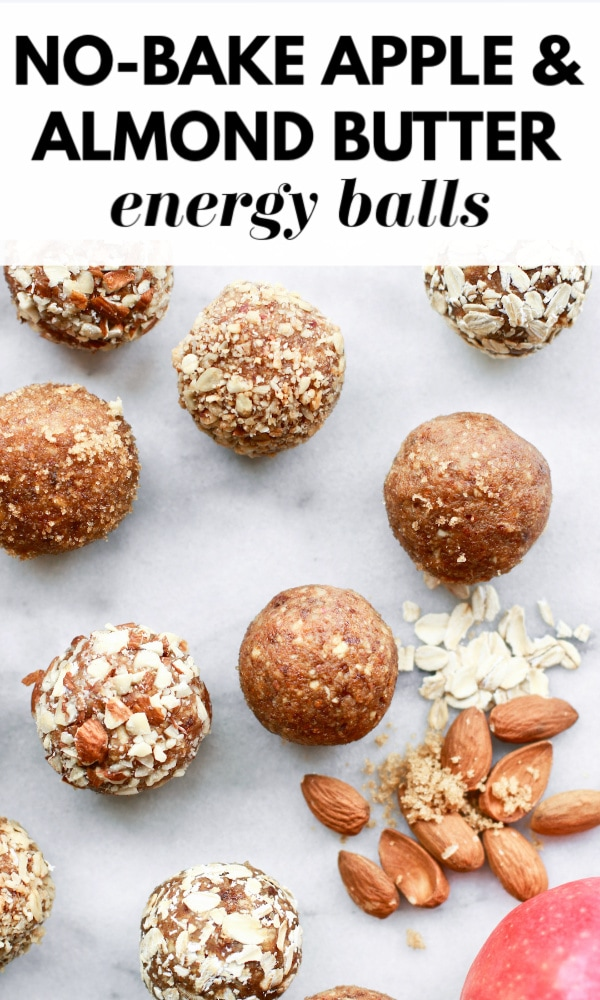 This healthy, delicious, and easy recipe for no-bake energy bites is packed with apples, dates, cinnamon, and almond butter - it's like apple pie in an energy ball! There's also protein packed into these little balls that are clean-eating friendly, vegan, and gluten free.