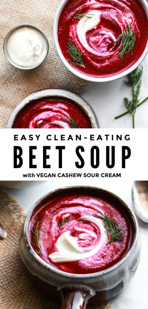 This delicious clean eating beet soup recipe is a simple version of Polish or Ukrainian borscht made easy in the blender. It's vegetarian (and vegan!), healthy, gluten free and perfect for cold days!