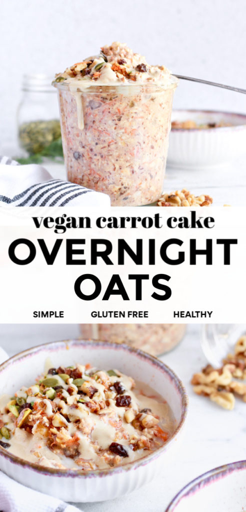 Try this delicious recipe for healthy vegan carrot cake overnight oats in a jar. This easy clean eating breakfast is full of fibre from the flaxseed so it's great for weightloss and keeping you full all morning. Dairy free, gluten free, and so simple to make for rushed mornings!