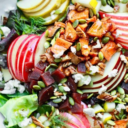 Fall Harvest Chopped Salad with Apple Dijon Dressing