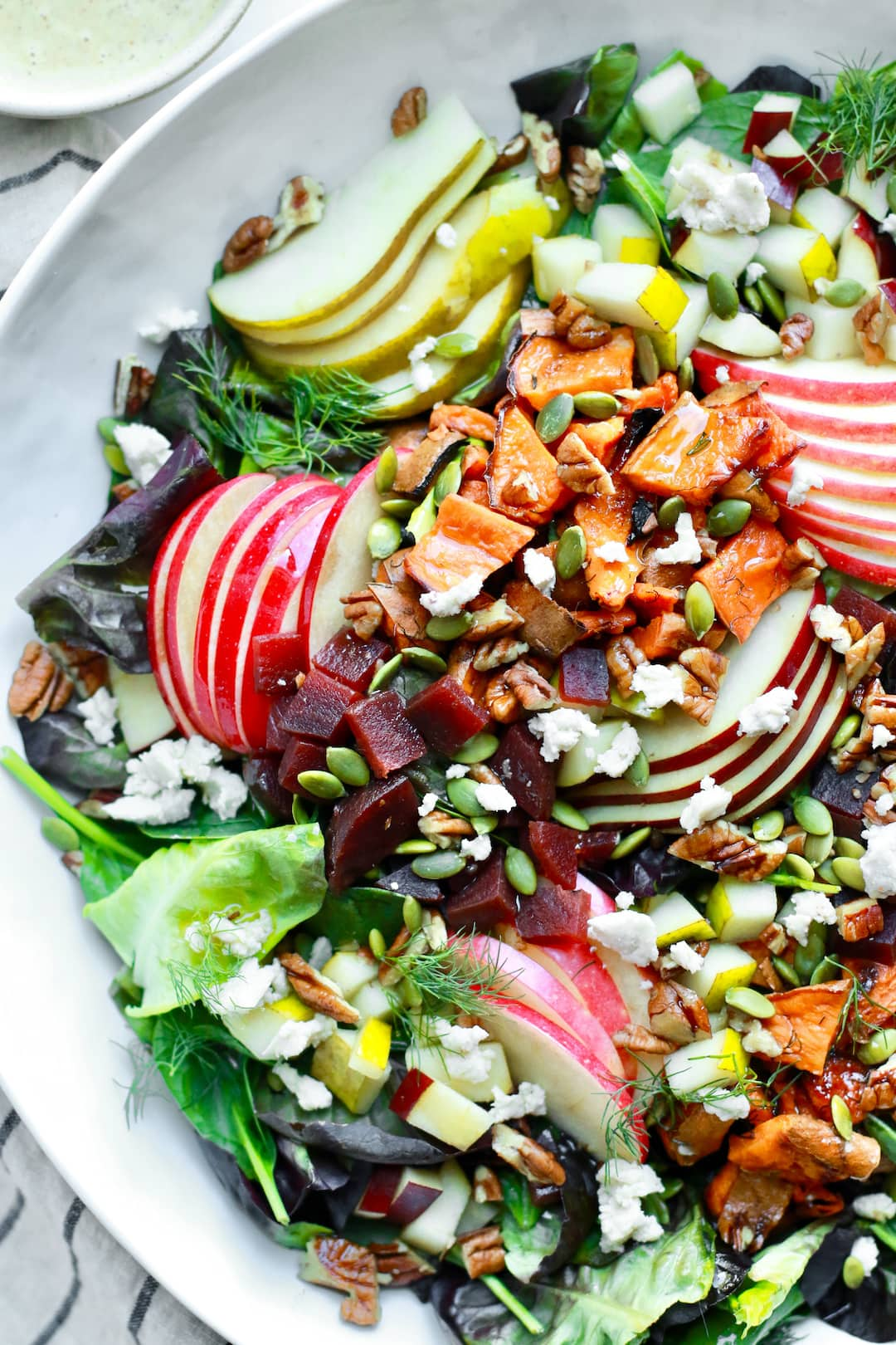 Fall Harvest Chopped Salad with Almond Butter Apple Dijon Dressing