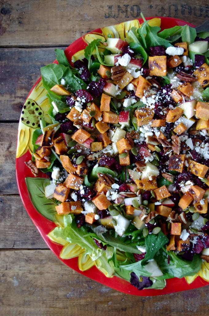 Autumn Chop Salad with Roasted Beets + Sweet Potato and Apple Dijon Dressing (gluten free & easily vegan!) via Nutritionist in the Kitch