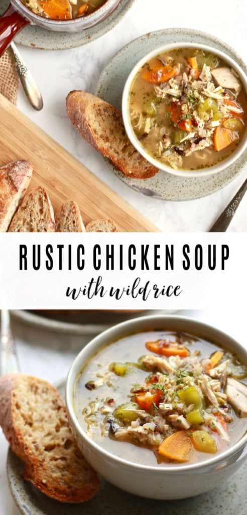 This healthy and easy rustic chicken and wild rice soup recipe (it could be called a stew too!) is so perfect for Fall. It is easily made on the stovetop in less than 30-minutes and is gluten free and dairy free too!