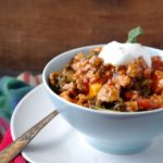 (No-Bean) Sweet Potato, Kale & Turkey Chili (gluten free & a VEGAN swap!)