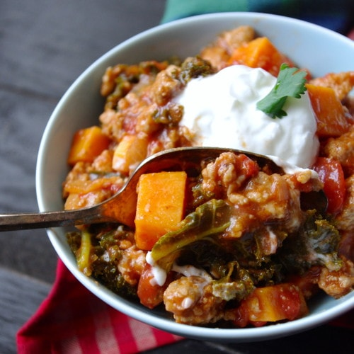 (No-Bean) Sweet Potato, Kale & Turkey Chili (gluten free & a VEGAN swap!) via Nutritionist in the Kitch