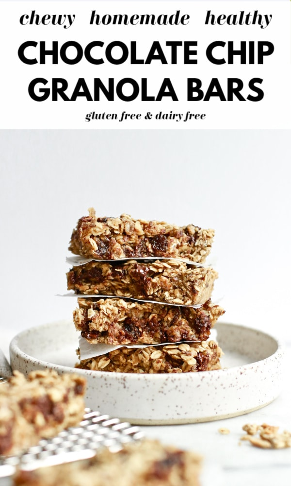 Try these healthy homemade chocolate chip granola bars made with no sugar that's refined and gluten free dairy free ingredients. These are also nut free and perfect for clean eating and for kids and adults alike. Easy, delicious, and great for healthy snacking!
