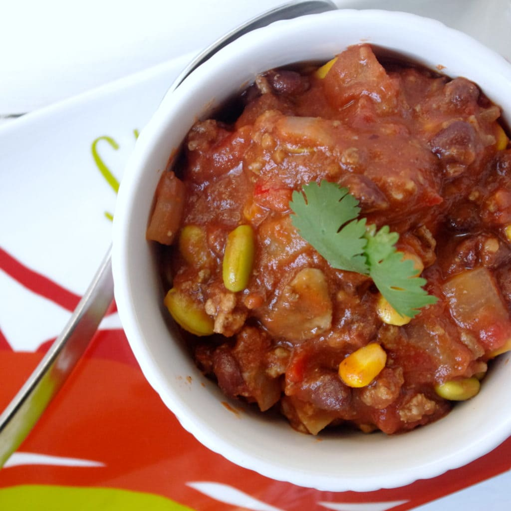 Hubby's Smoky Corn & Edamame Beef Chili … and my first time IN PRINT! :)