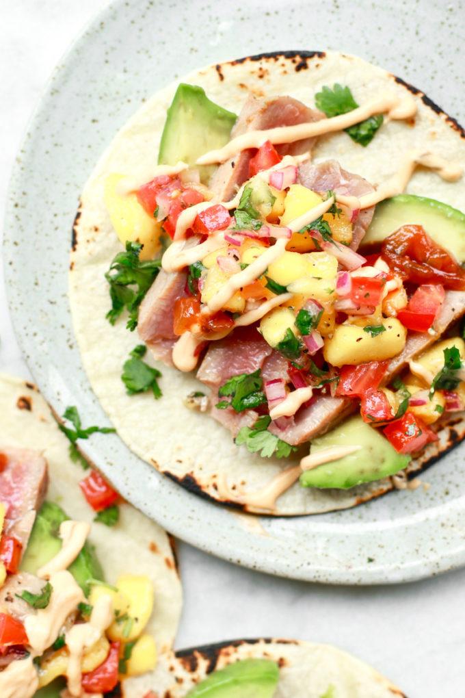Healthy Ahi Fish Tacos with Fresh Mango Salsa