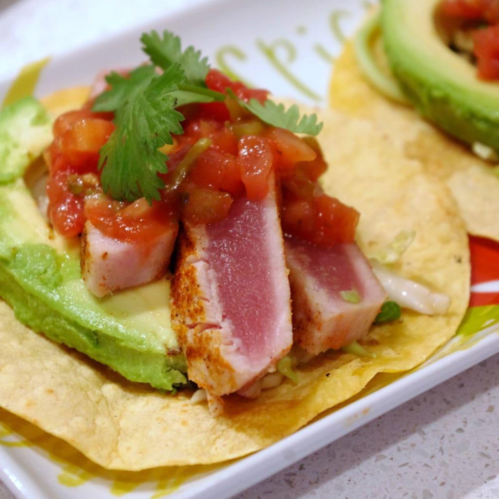 Simple Seared Ahi Tuna Tacos (GF) via Nutritionist in the Kitch