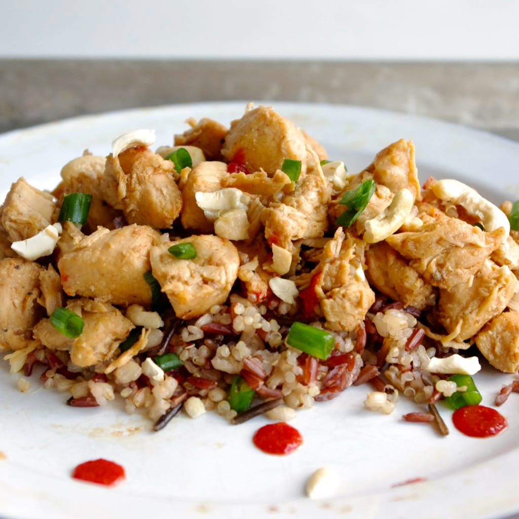 Sweet & Salty Crockpot Cashew Chicken via Nutritionist in the Kitch