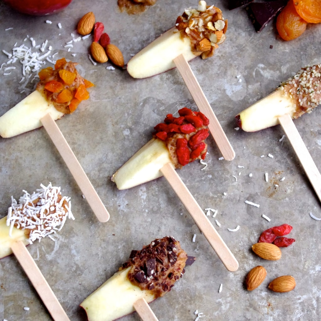 """Caramel"" Dipped Superfood Apple Treats for a Healthy Halloween via Nutritionist in the Kitch"