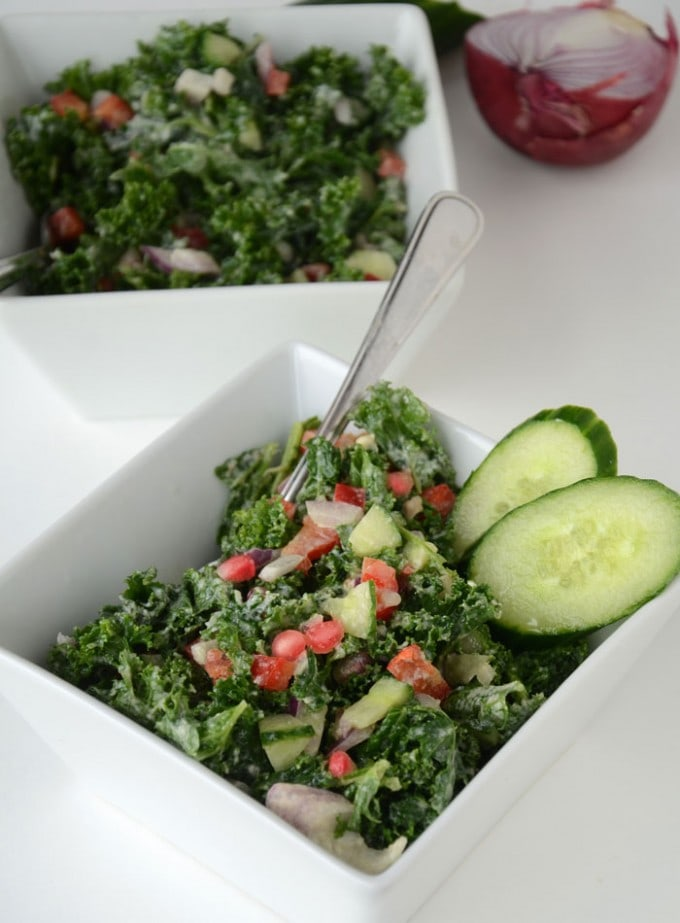 Creamy Tahini Kale Salad with Pomegranate
