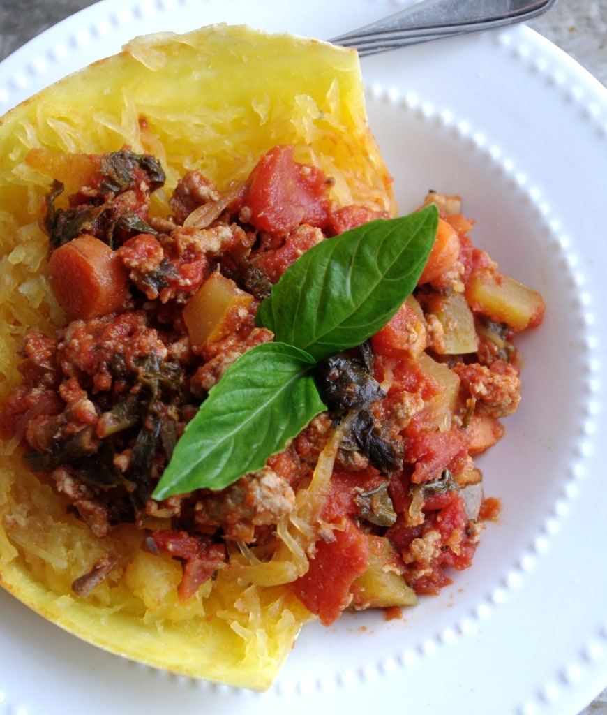 """Squash Bowl"" Garden Vegetable Turkey Bolognese via Nutritionist in the Kitch"