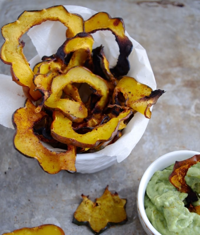 Sweet Chili Acorn Squash Chips with Avocado