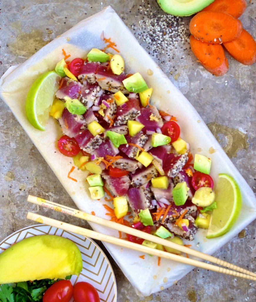 ( Hawaii Dreaming ) Sesame Chia Crusted Tuna Poke via Nutritionist in the Kitch