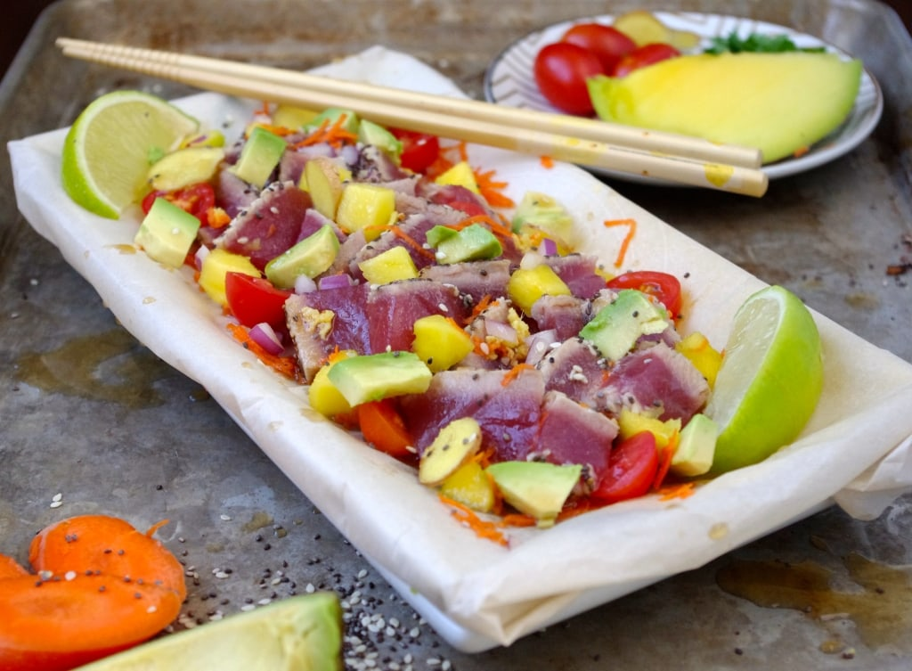 ( Hawaii Dreaming ) Sesame Chia Crusted Tuna Poke via Nutritionist in the Kitch
