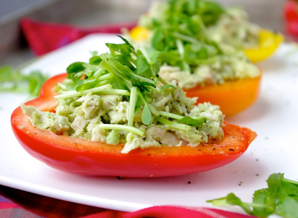 Avo-Chicken Salad Bell Pepper Boats