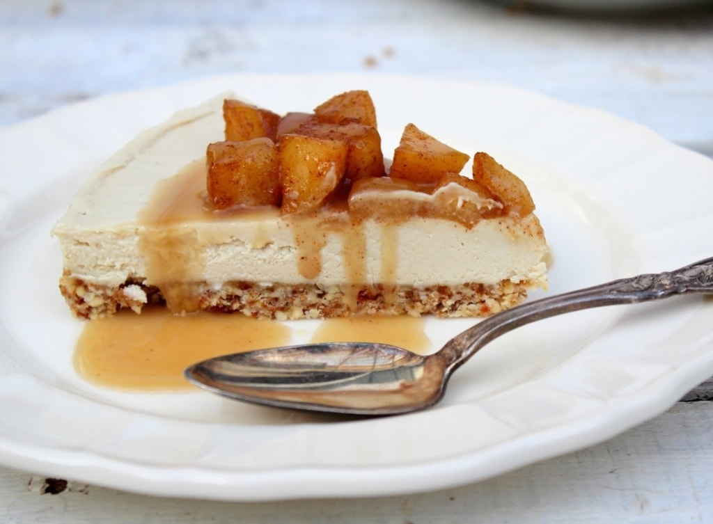 Vegan Apple Caramel Cheesecake from Under A Lemon Tree via Nutritionist in the Kitch