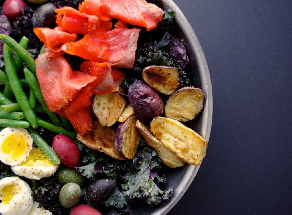 Massaged Red Kale & Lox Nicoise Salad