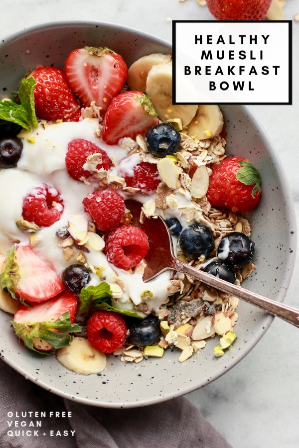 This simple and healthy breakfast muesli is made with coconut yogurt, berries, and gluten-free muesli. It can also be vegan with the use of maple syrup instead of honey. Add this one to your recipe ideas for easy mornings!