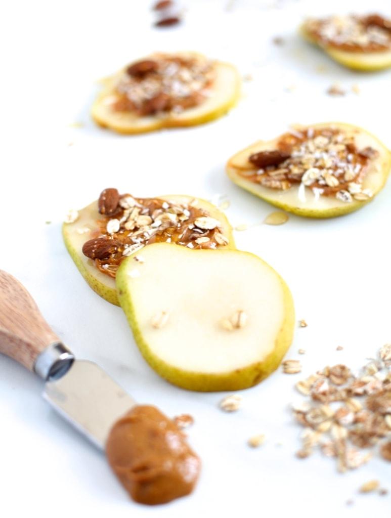 Pear & Almond Butter Muesli Snack Stacks