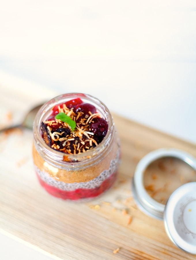 Layered Chia Pudding with Strawberry Fig Compote via Nutritionist in the Kitch